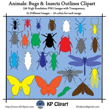 Animals Bugs and Insects Outlines Clipart