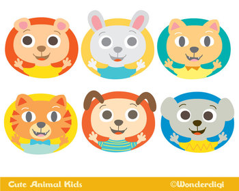 Animals Clip Art - Cute Animal kids Characters Set