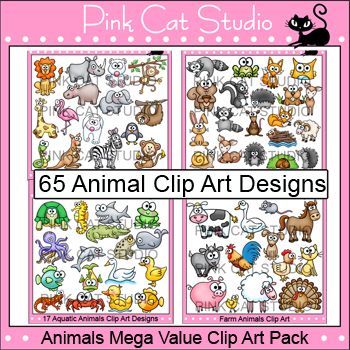 Animals Clip Art Mega Bundle - Farm Animals, Wild Animals,
