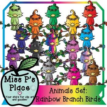 Animals Clip Art Set: Rainbow Tropical Branch Birds [Miss