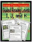 (Animals) Leveled Passages Guided Reading Levels I,J, K (L