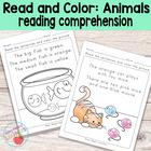 Animals Read and Color Reading Comprehension Worksheets - Grade 1 / Kindergarten