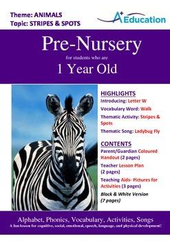 Animals - Stripes & Spots : Letter W : Walk - Pre-Nursery