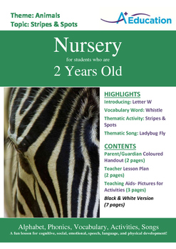 Animals - Stripes & Spots : Letter W : Whistle - Nursery (