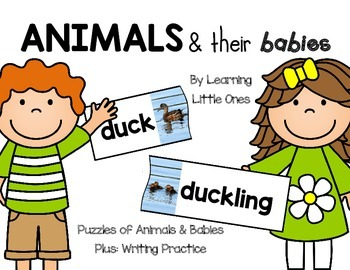 Animals & Their Babies **Easy Prep!** Puzzles & Writing