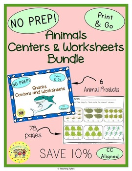 Animals Thematic Centers and Worksheets Bundle