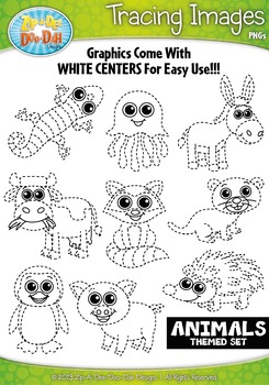Animals Tracing Image Clipart Set 2 — Includes 15 Graphics!