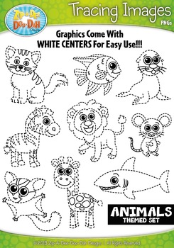 Animals Tracing Image Clipart Set 1 — Includes 15 Graphics!