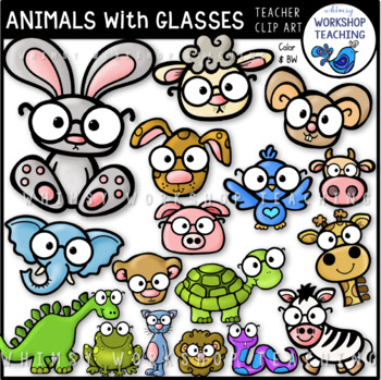 Animals With Glasses Clip Art - Whimsy Workshop Teaching