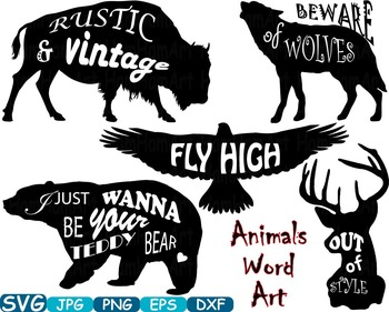 Animals Word Art clip art Bear Eagle Deer Wolf Bison silho