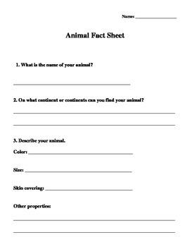 Animals and Habitats Recording Sheet