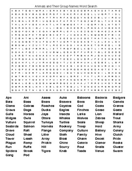 Animals and Their Group Names Crossword & Word Search w/KEYS