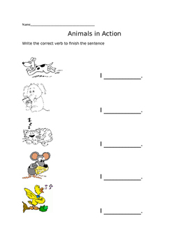 Animals in Action - ESL Verb Practice
