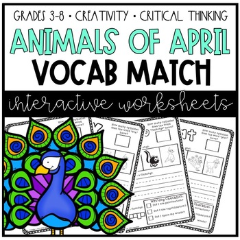 Animals of April: Daily Vocabulary to Picture Match Activities
