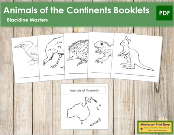 Animals of the Continents: Blackline Master Booklets