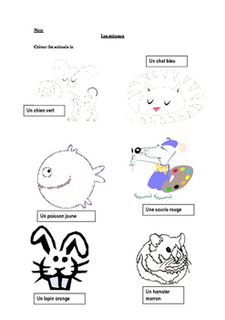 Animals to colour in - SEN