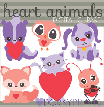 Animals with Hearts Digital Clip Art