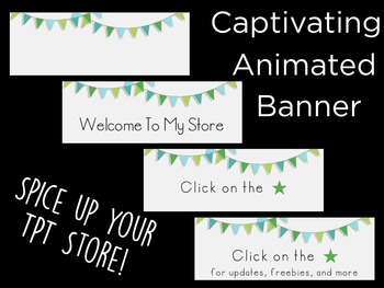 Animated Banner for TPT Sellers- Green Bunting