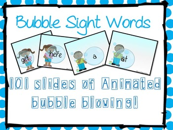 Animated Bubble Blowing Sight Word-Warm Up