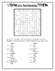 Animaux (Animals in French) wordsearch for differentiated