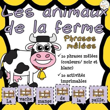 Animaux de la ferme - Phrases mêlées - French Farm Animals