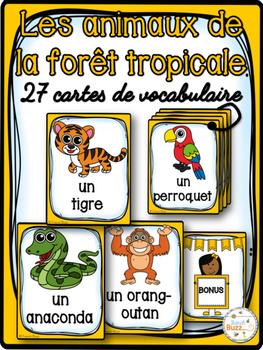 Animaux de la forêt tropicale - Cartes de vocabulaire- Fre