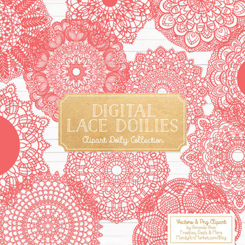 Anna Lace Round Doilies in Coral