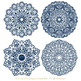 Anna Lace Round Doilies in Navy
