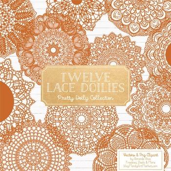 Anna Lace Round Doilies in Pumpkin