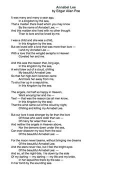 Annabel Lee by Edgar Allan Poe - Lessons, Analysis, & Writ