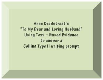 """Anne Bradstreet """" To My Dear and Loving Husband"""" Graphic O"""