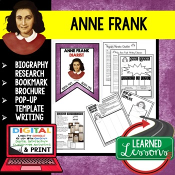 Anne Frank Biography Research, Bookmark Brochure, Pop-Up, Writing