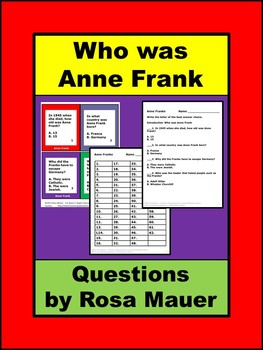 Who Was Anne Frank? Task Cards