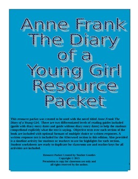 Anne Frank The Diary of a Young Girl Resource Packet {Alig