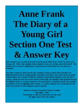 Anne Frank The Diary of a Young Girl Section 1 Test and Ke