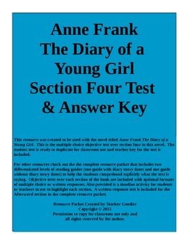 Anne Frank The Diary of a Young Girl Section 4 Test and Ke