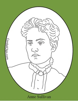 Anne Sullivan Clip Art, Coloring Page or Mini Poster