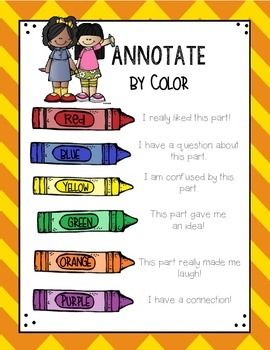 Annotate Text by Color Primary Grades
