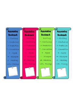 Annotation Bookmark for Grades 4-10 - Editable in Publisher