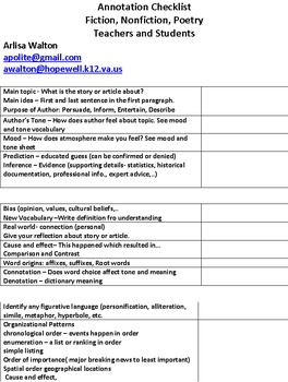 Annotation Checklist (Reading 6-12)