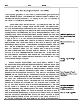 """Annotation Graphic Organizer for """"Why I Write"""" by George Orwell"""