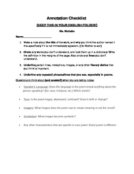 Annotation Guidelines and Checklist