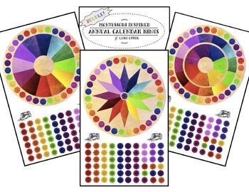 Annual Calendar Ring BUNDLE! - Montessori Inspired - Rainb