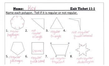 Answer Keys for Go Math Chapter 11 Exit Slips/Quizzes/Quic
