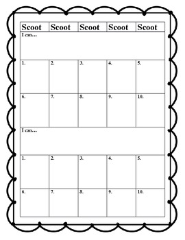 Answer Sheet for Scoot Activities to Accompany Any Pre-Mad