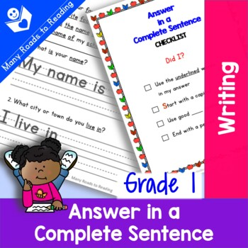 Answer in a Complete Sentence: Grade 1