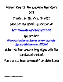 Answer key for the Lightning Thief Quote Sort (another product)