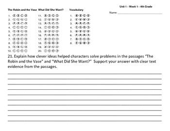 Answer sheet (bubbles) Reading Wonders Unit one Week one 4
