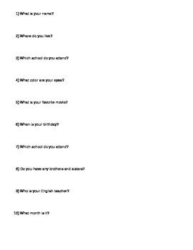 Answering Questions in Complete Sentences Exercise
