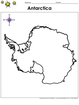 Antarctica Map - Blank - Full Page - Continent - Portrait